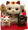 "[ FORTUNE CAT, MINI, 3 CATS, 1-1/8"" H ]"