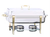 [ CHAFER, FULL SIZE, 8 QT, GOLDEN FRAME ]