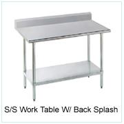 S/S Work Table W/Back Splash